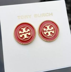 Tory Burch Red & Gold Button Logo Stud Earrings